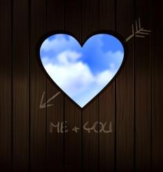heart shape cut into wood vector image vector image