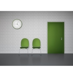 Waiting interior with clock and chairs vector image