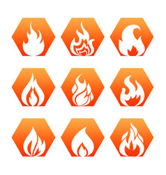 white fire flame on colorful backdrop - fire flame vector image vector image