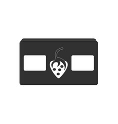 Black icon on white background videocassette and vector