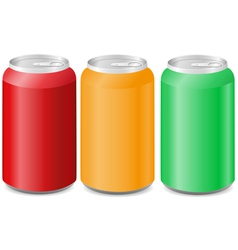 coloured aluminum cans with soda vector image vector image