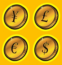 currency golden coins vector image vector image
