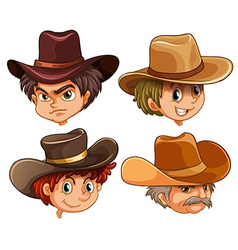 Different faces of four cowboys vector image