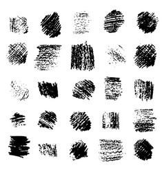 set of black grunge scratched square textures vector image
