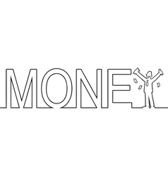The word MONEY with a man standing in it vector image vector image