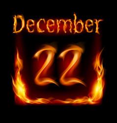 Twenty-second december in calendar of fire icon vector