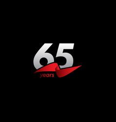 65 years anniversary celebration white black red vector