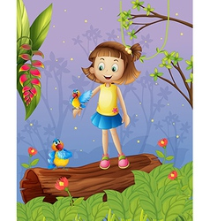 A girl with two birds inside the forest vector image