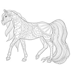 Adult coloring bookpage a cute horse image vector