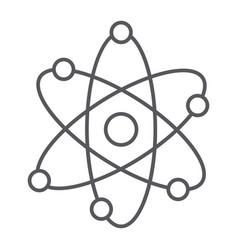 Atom structure thin line icon scientific and vector