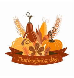Autumn greeting card thanksgiving day vector