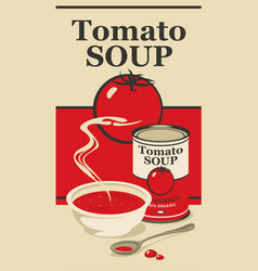 Banner for condensed tomato soup with inscription vector