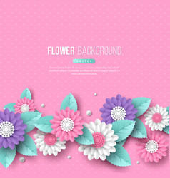 Banner with paper cut 3d flowers in pink white vector
