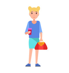 blonde girl student in blue blouse skirt vector image