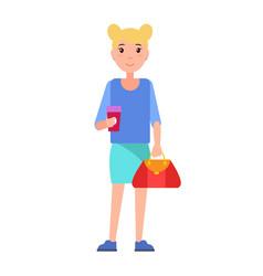 Blonde girl student in blue blouse skirt vector