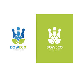 bowling and leaf logo combination game and vector image