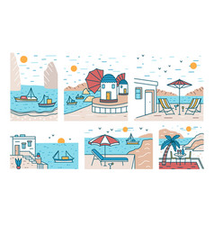 Bundle of summer sceneries with sea or ocean vector