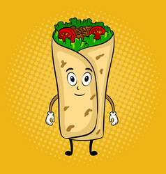 burrito cartoon pop art vector image