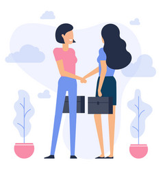 businesswomen shaking hands vector image