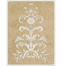 Card white paper cut flower vector