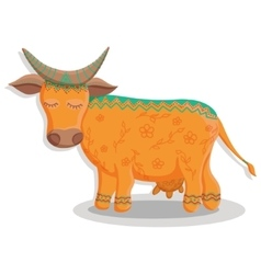 Card with lovely cute pattern cow vector