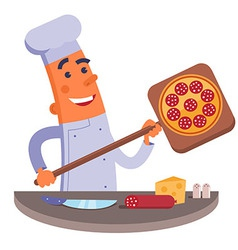 Cartoon chef holding pizza shovel with pizza vector