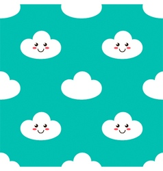 Cartoon smiling clouds seamless pattern background vector image