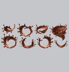 chocolate splashes realistic liquid drops swirls vector image