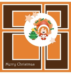 Christmas card with cute little girl vector image vector image