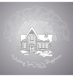 Christmas house and handwritten words on grey vector