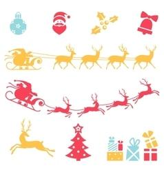 Christmas icons Santa claus sleigh vector image