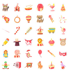 circus animal icons set cartoon style vector image