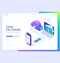 cloud file transfer isometric landing page banner vector image