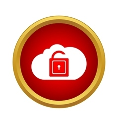 Cloud with opened padlock icon simple style vector image