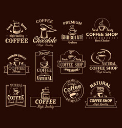 coffee cup label set for cafe and shop design vector image