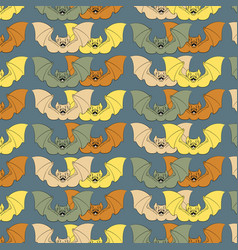 colorful pattern with angry bat with fangs and vector image