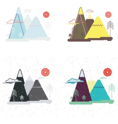 Colorful set of flat landscape Nature mountains vector