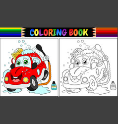 coloring book with red cartoon car washing vector image
