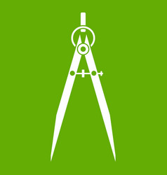 Compass for drawing and delineation icon green vector