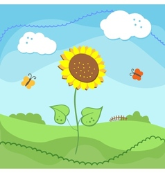 Country landscape with sunflowers and clouds vector image