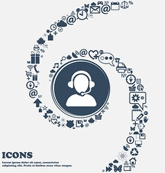 Customer support icon in the center Around the vector image