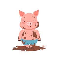 Cute happy pig standing in a dirty pool funny vector