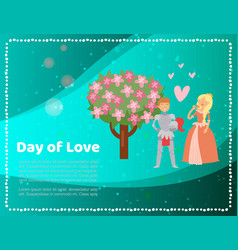 cute medieval princess lady and knight love day vector image