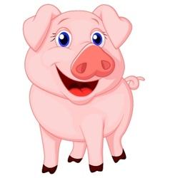 Cute pig cartoon vector image
