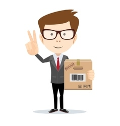 delivery service man with box shows sign of vector image