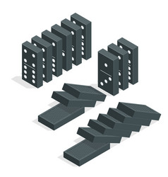 Domino effect full set of black isometric vector