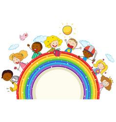 Doodle kids on rainbow vector