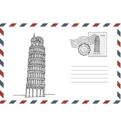 envelope with hand drawn leaning tower pisa vector image
