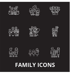 family editable line icons set on black vector image