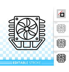 Fan simple black line icon vector